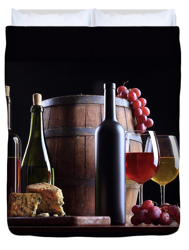 Cheese Duvet Cover featuring the photograph Wine Composition by Valentinrussanov