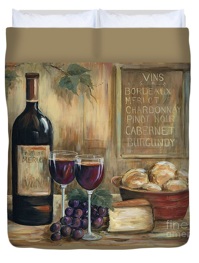 Wine Duvet Cover featuring the painting Wine For Two by Marilyn Dunlap