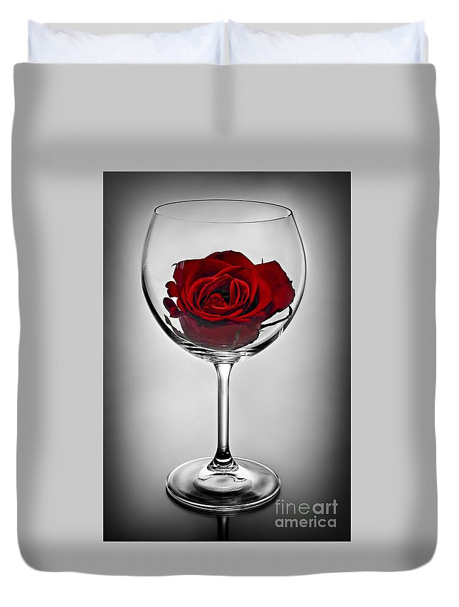 Glass Duvet Cover featuring the photograph Wine Glass With Rose by Elena Elisseeva