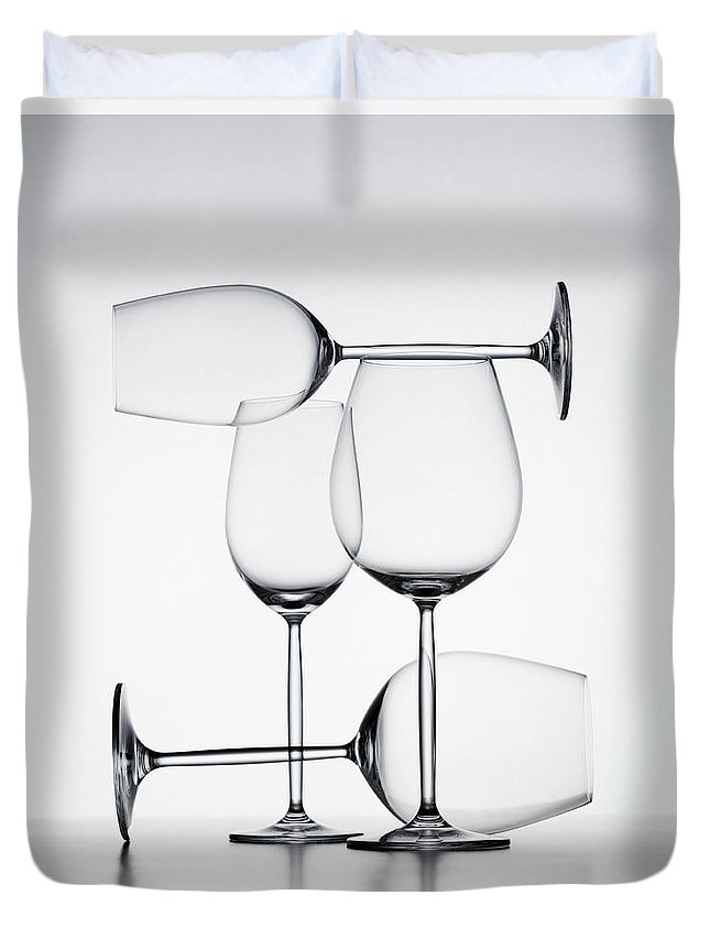 Empty Duvet Cover featuring the photograph Wine Glasses by Jorg Greuel