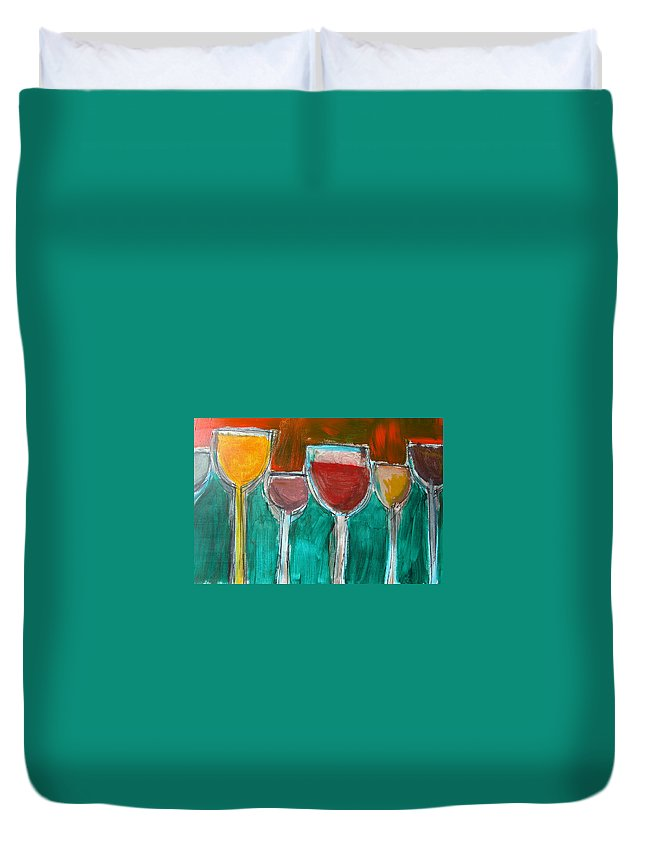 Abstract Duvet Cover featuring the painting Wine Party 3 by Rhodes Rumsey