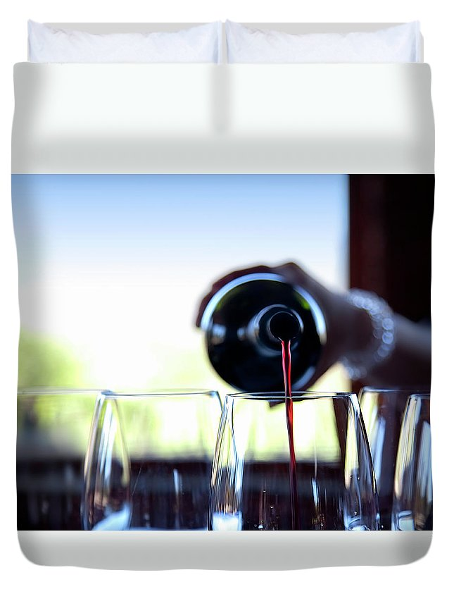 Recreational Pursuit Duvet Cover featuring the photograph Wine Pouring by Nicolamargaret