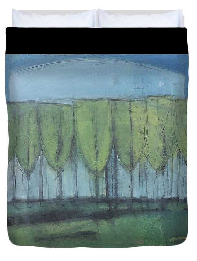 Wineglass Duvet Cover featuring the painting Wineglass Trees by Tim Nyberg