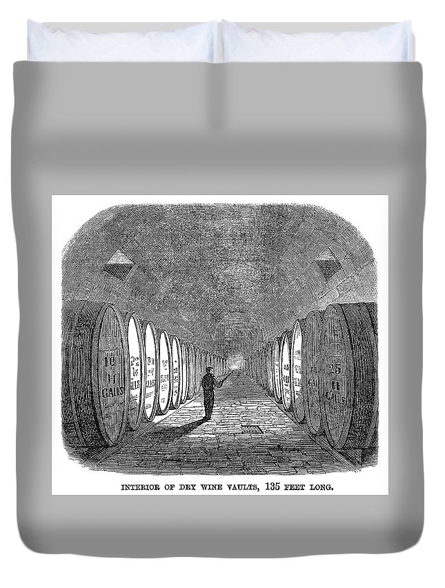 1866 Duvet Cover featuring the painting Winemaking Vault, 1866 by Granger