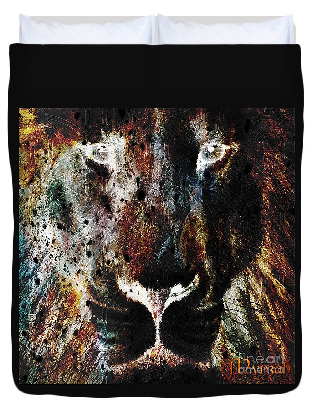 Winged Lion Duvet Cover featuring the digital art Winged Lion by Mynzah Osiris