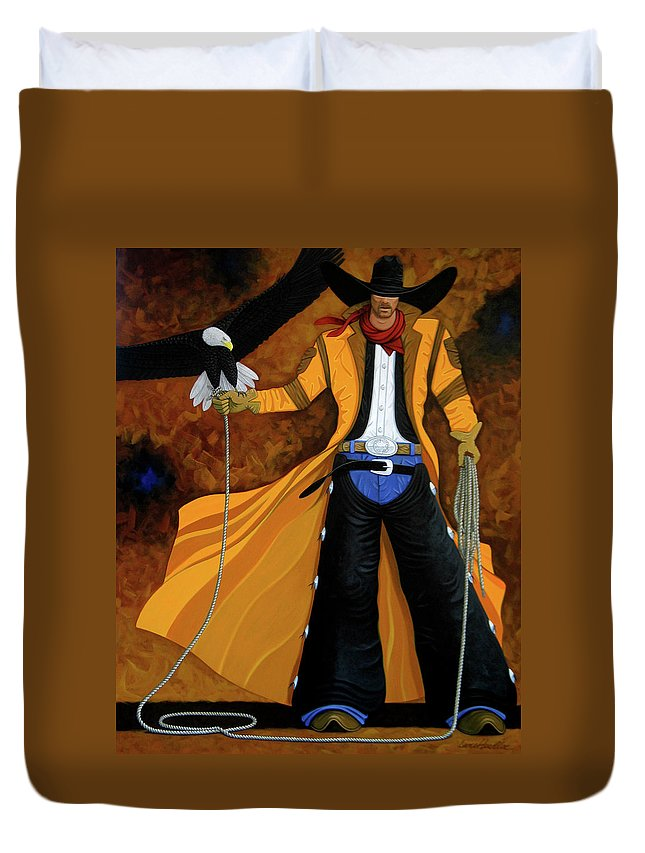 Original Cowboy American Duvet Cover featuring the painting Wings Of The West by Lance Headlee
