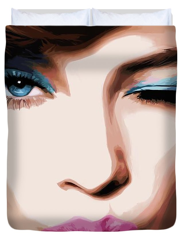 Amazing Girl Duvet Cover featuring the digital art Wink - Pretty Faces Series by Gabriel T Toro
