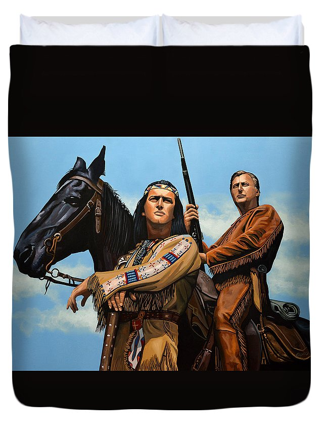 Winnetou Duvet Cover featuring the painting Winnetou and Old Shatterhand by Paul Meijering