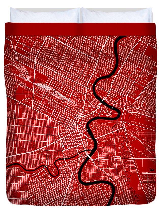 Road Map Duvet Cover featuring the digital art Winnipeg Street Map - Winnipeg Canada Road Map Art On Color by Jurq Studio