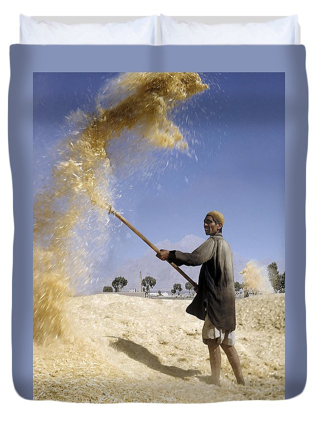 Winnowing Wheat Duvet Cover featuring the photograph Winnowing Wheat In Iran by David Murphy