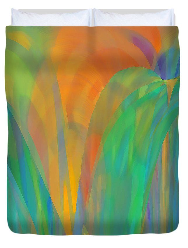 Abstract Duvet Cover featuring the digital art Winsome by ME Kozdron