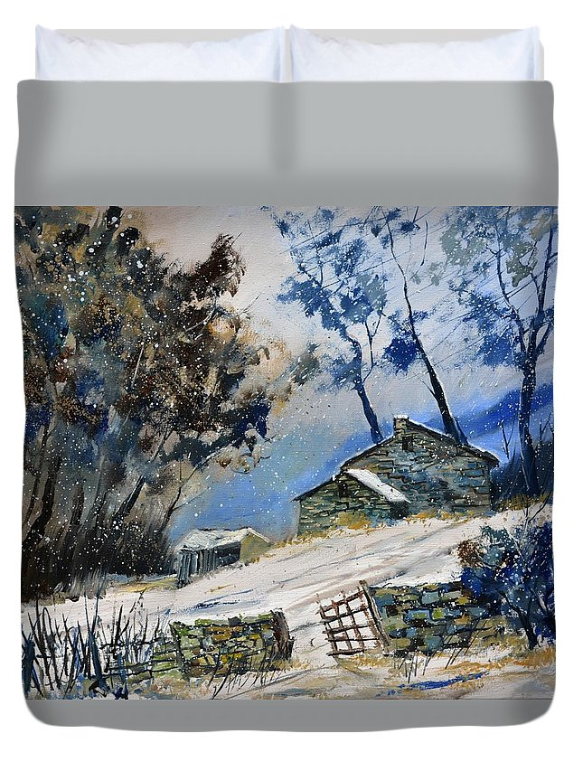 Landscape Duvet Cover featuring the painting Winter 655120 by Pol Ledent