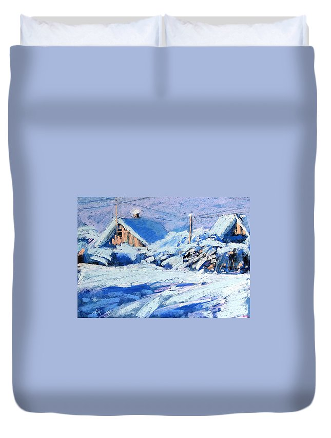 Winter Duvet Cover featuring the painting Winter by Alena Kogan