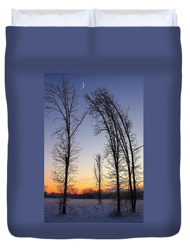 Dusk Duvet Cover featuring the photograph Winter At Dusk by Randy Pollard