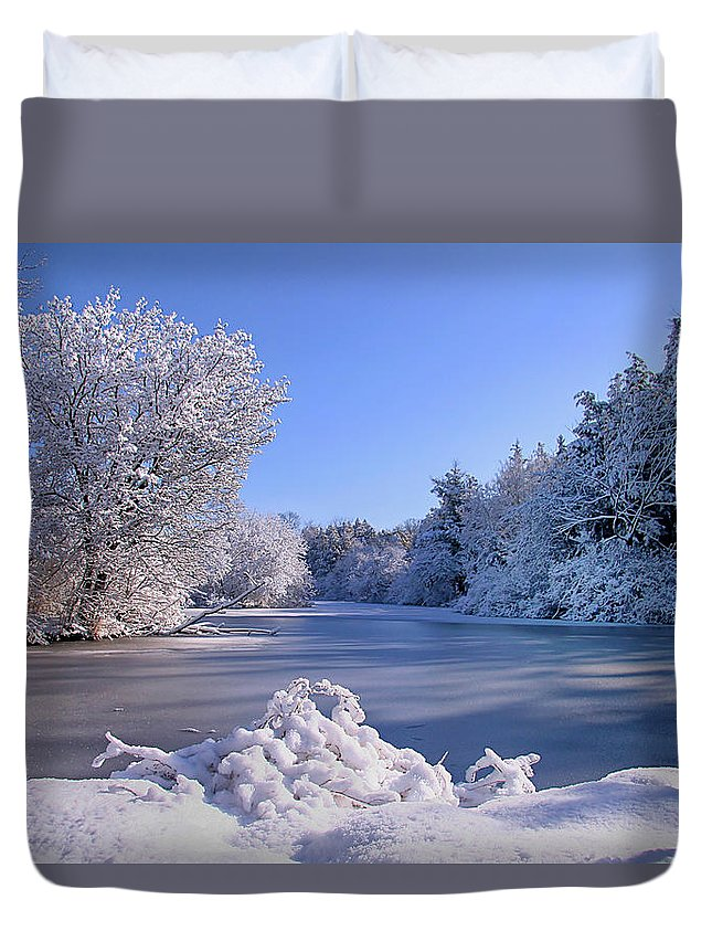 Snow Duvet Cover featuring the photograph Winter At Lake Marmo by John Absher