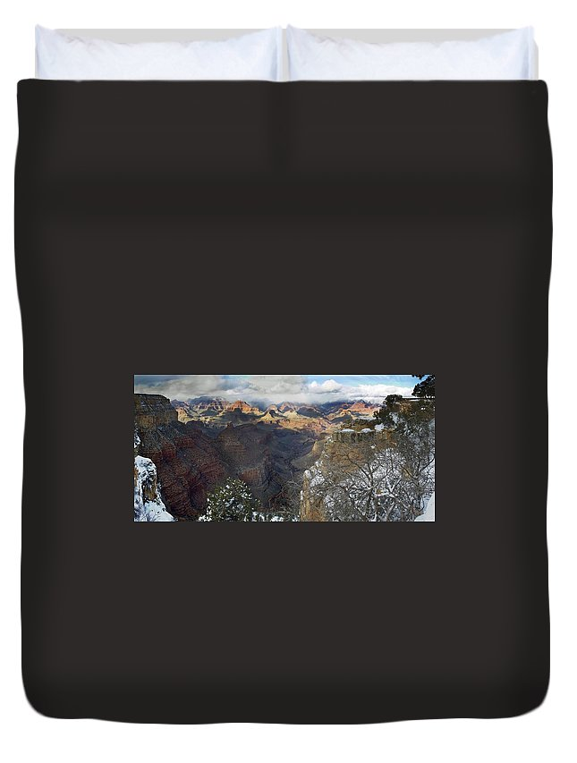 Arizona Duvet Cover featuring the photograph Winter At The Grand Canyon by Steve Ondrus