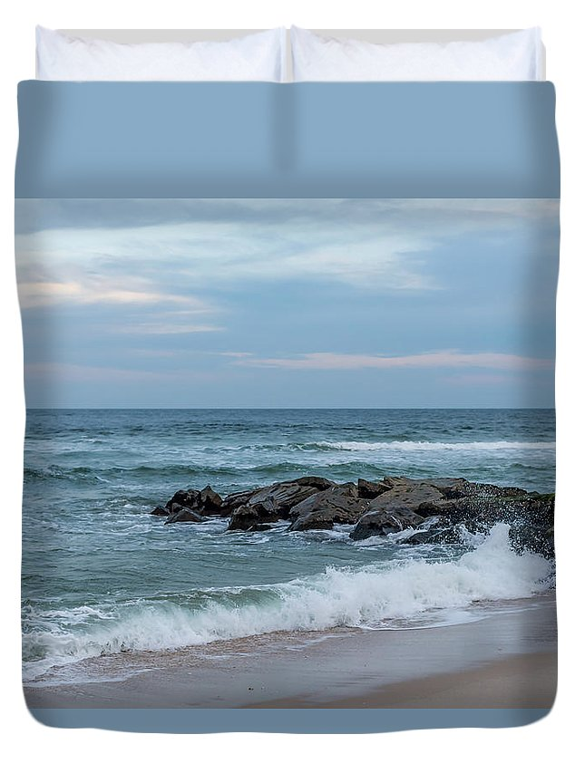 Winter Beach Day Lavallette New Jersey Duvet Cover featuring the photograph Winter Beach Day Lavallette New Jersey by Terry DeLuco