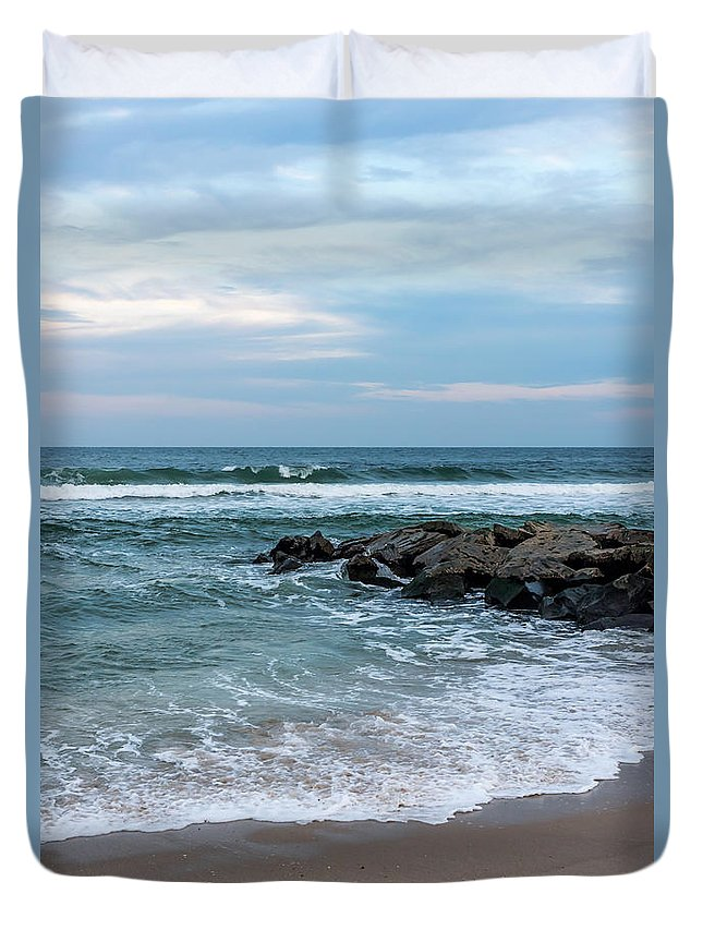 Winter Beach Lavallette New Jersey Duvet Cover featuring the photograph Winter Beach Lavallette New Jersey by Terry DeLuco