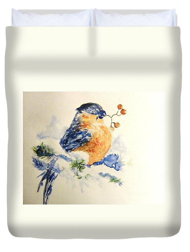 Winter Duvet Cover featuring the painting Winter Bird by Liudmila Petarus