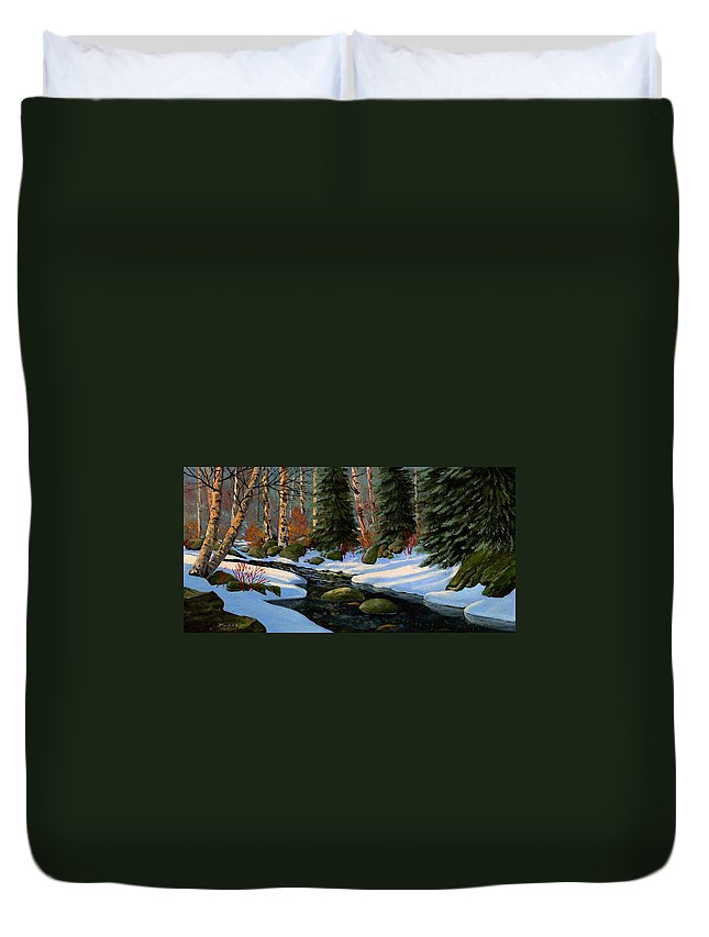 Landscape Duvet Cover featuring the painting Winter Brook by Frank Wilson
