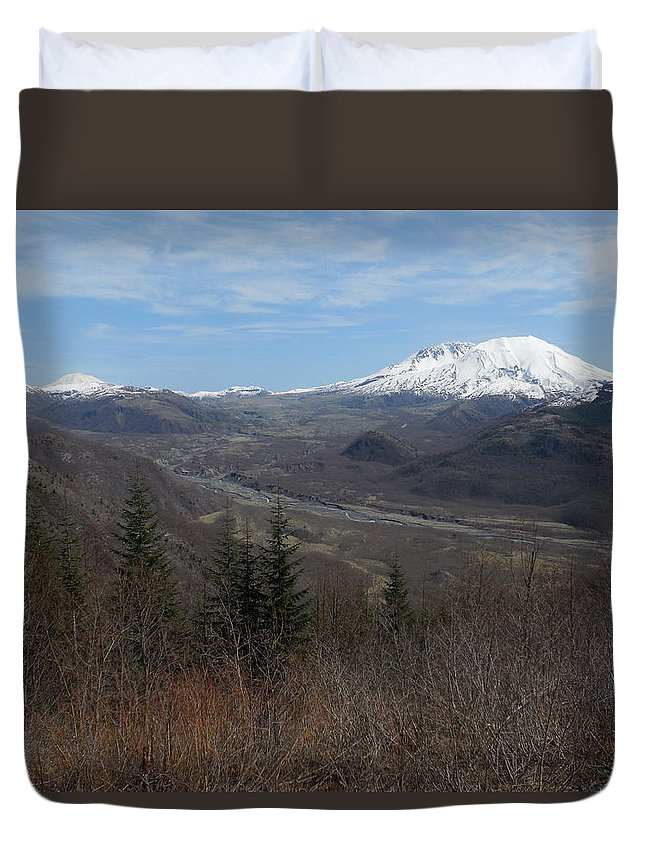 Mt St Helens Duvet Cover featuring the photograph Winter Brown And White by Teresa A Lang