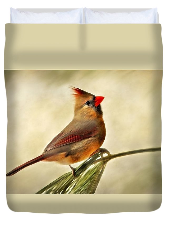 Winter Duvet Cover featuring the painting Winter Cardinal by Christina Rollo