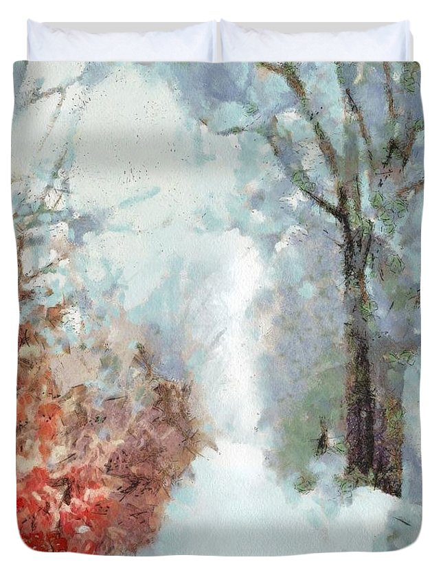 Winter Duvet Cover featuring the painting Winter by Catherine Lott