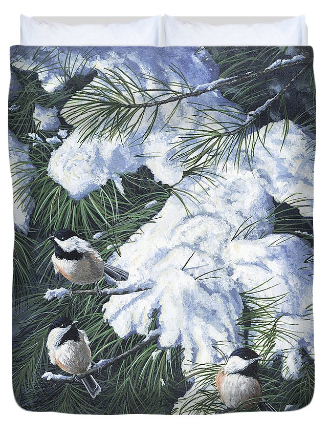 Bird Duvet Cover featuring the painting Winter Chickadees by Christopher Lyter