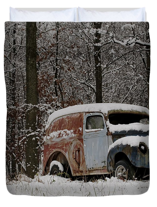 Car Duvet Cover featuring the photograph Winter Classic by Trish Tritz