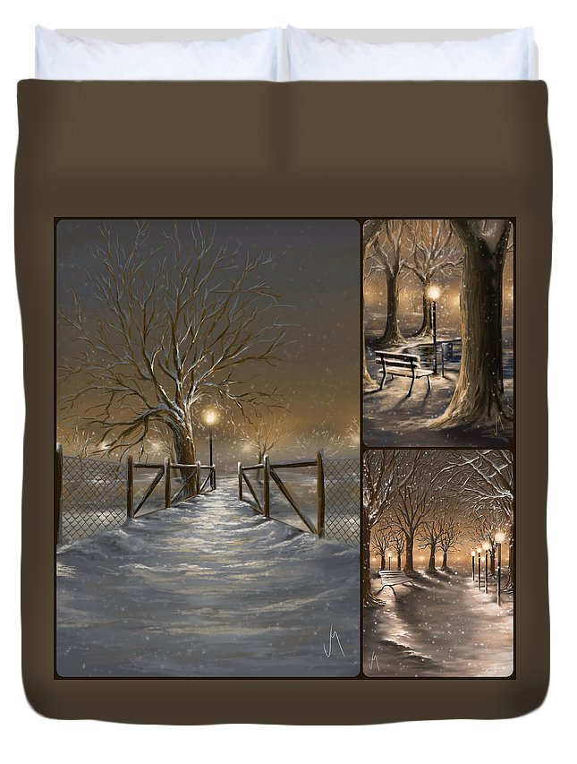Collage Duvet Cover featuring the painting Winter Collage by Veronica Minozzi