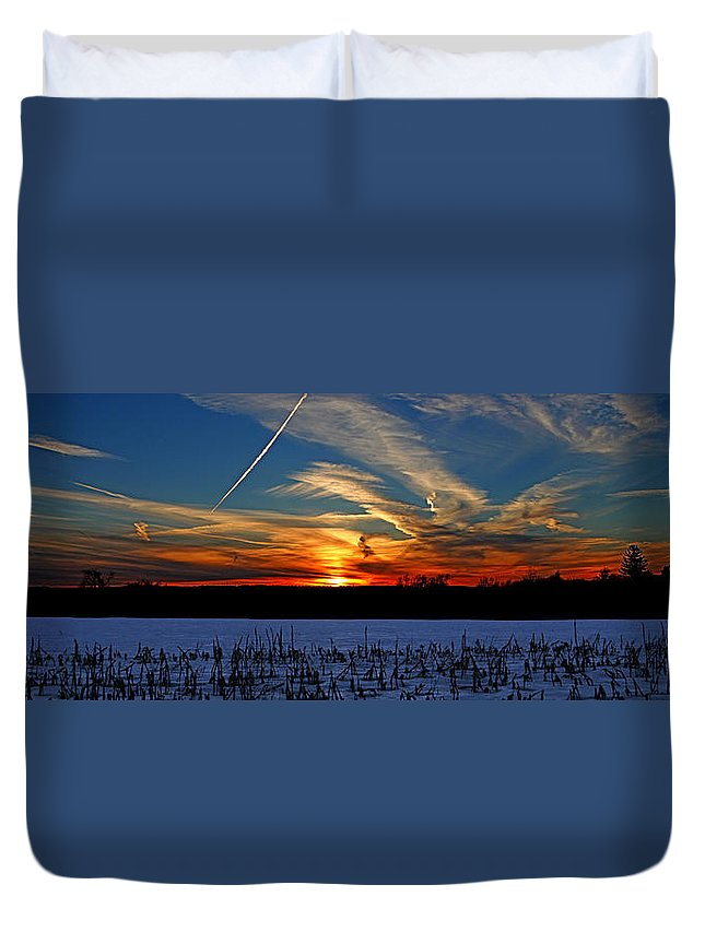 Landscape Duvet Cover featuring the photograph Winter Corn Field by James F Towne