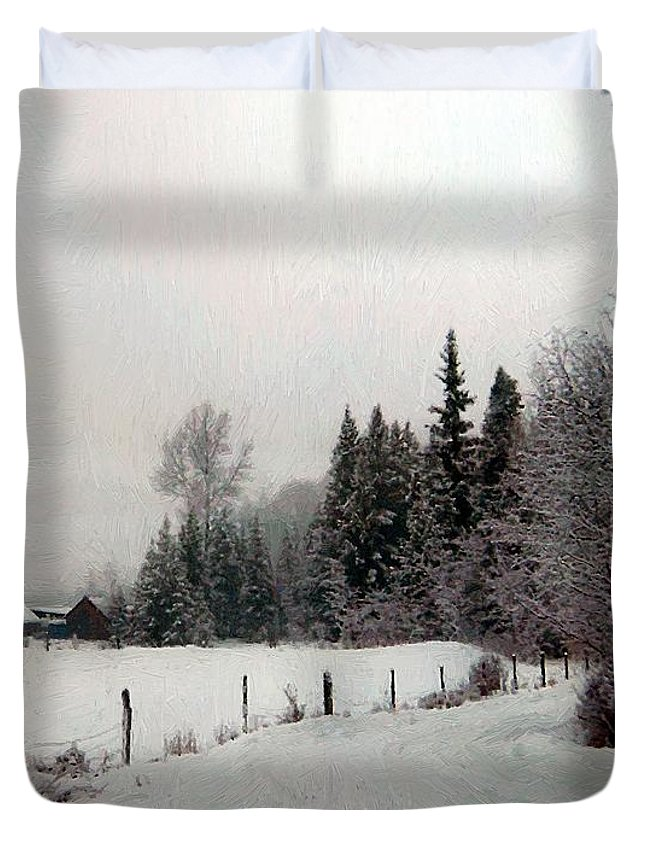 Winter Duvet Cover featuring the painting Winter Dawn by RC DeWinter
