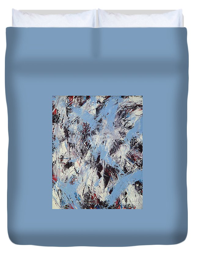 Abstract Duvet Cover featuring the painting Winter by Dean Triolo