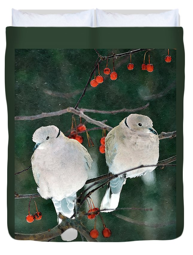 Eurasian Collared Doves Duvet Cover featuring the digital art Winter Doves by Betty LaRue