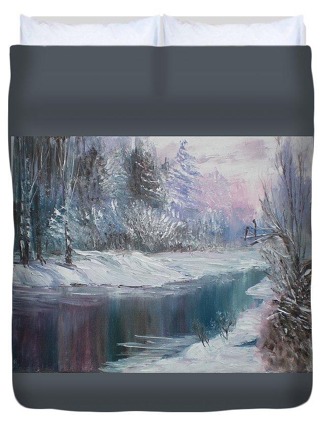 Landscape Duvet Cover featuring the painting Winter by Elena Sokolova