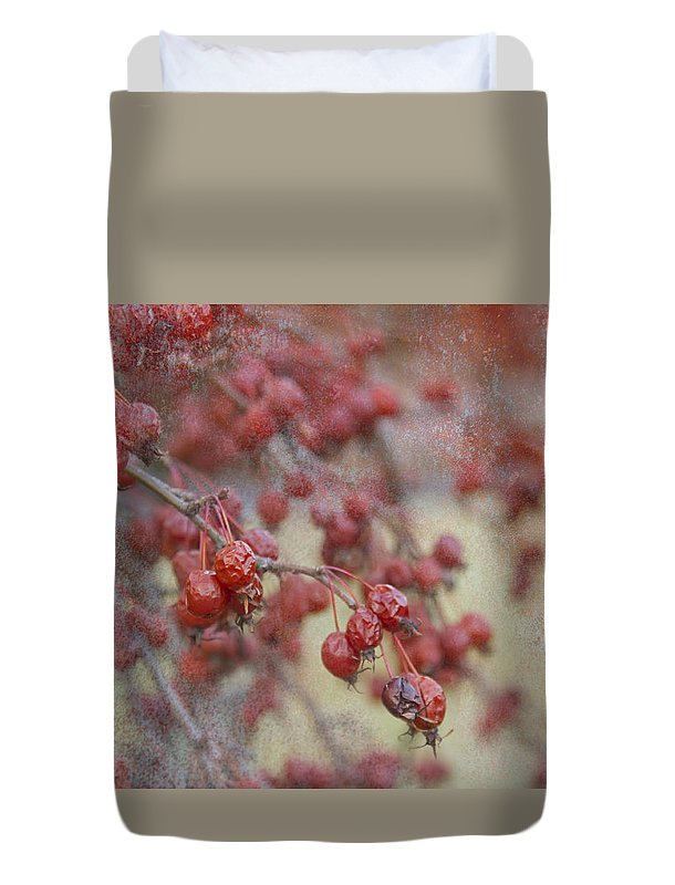 Red Duvet Cover featuring the photograph Winter Fruit by Marilyn Cornwell