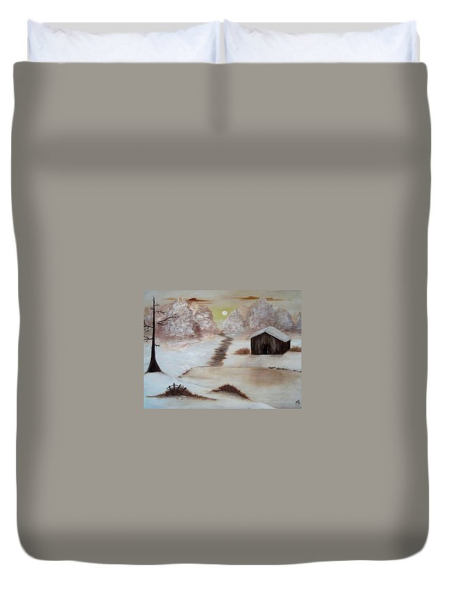 Barn Duvet Cover featuring the painting Winter Haven by Melanie Blankenship