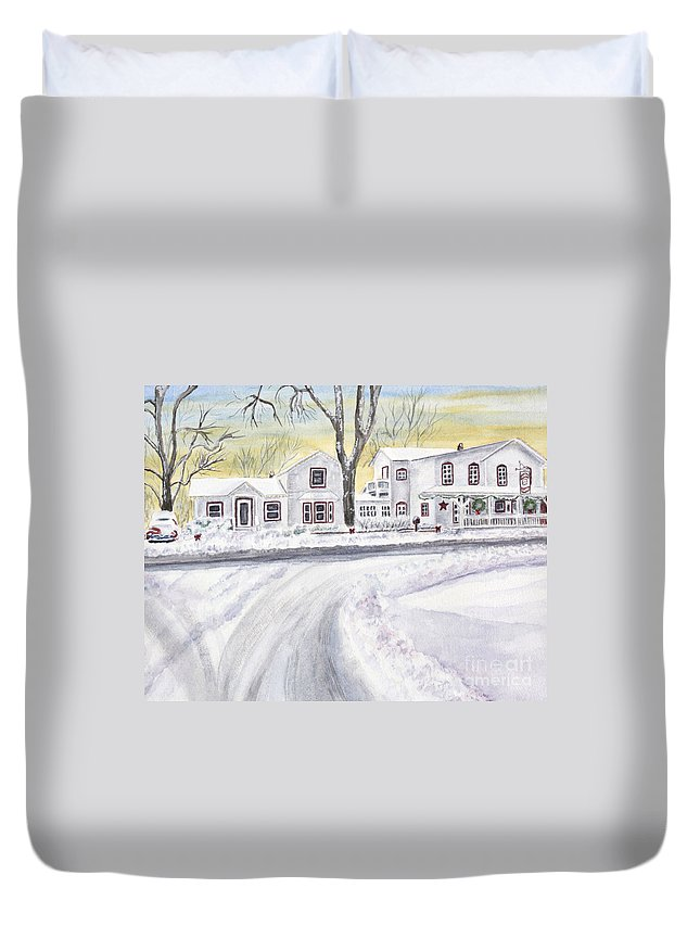 General Store Duvet Cover featuring the painting Winter Holidays In Dixboro Mi by Kathryn Duncan