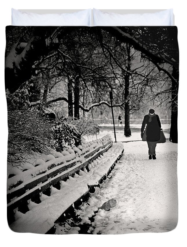 Winter Duvet Cover featuring the photograph Winter In Central Park by Madeline Ellis