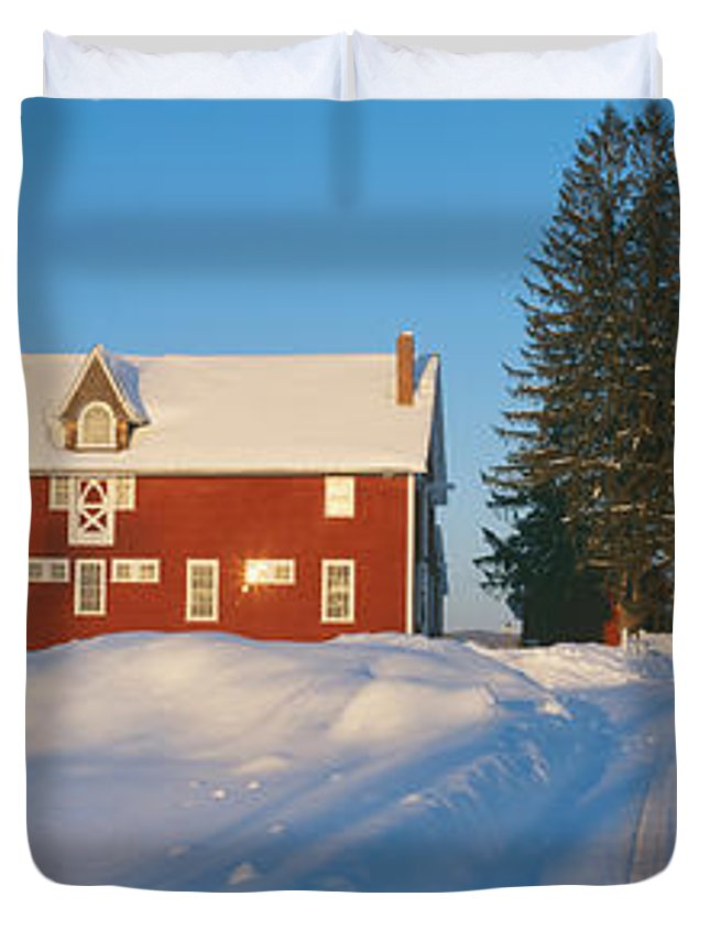 Photography Duvet Cover featuring the photograph Winter In New England, Mountain View by Panoramic Images