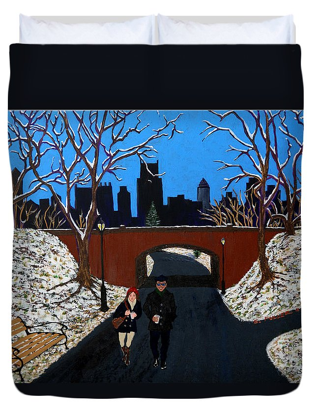 Trees Duvet Cover featuring the painting A Walk In The Park by Edward Fuller