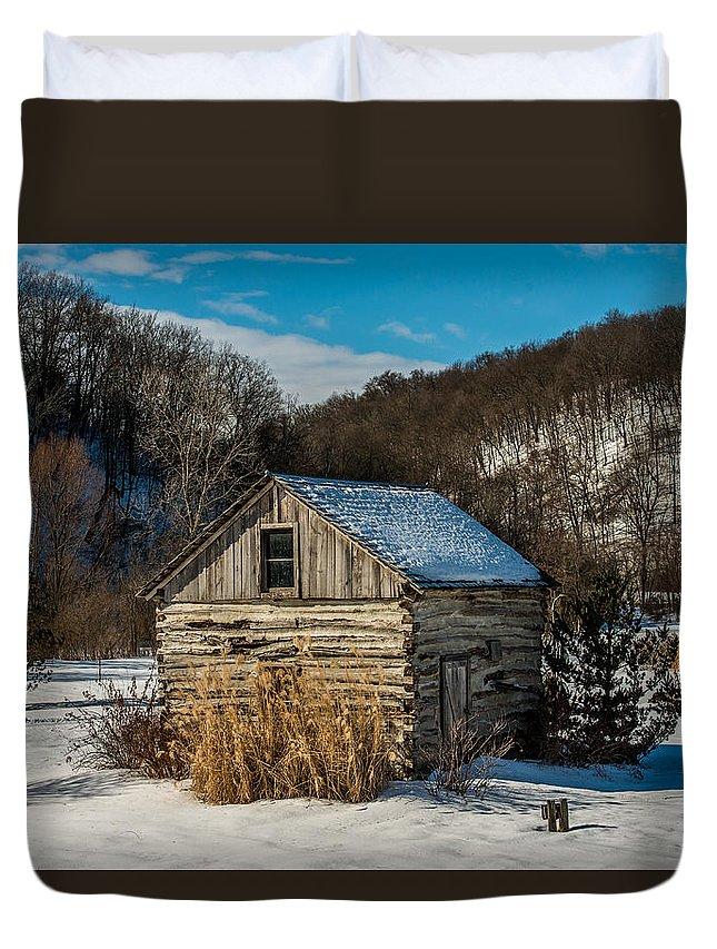 Paul Duvet Cover featuring the photograph Winter Logcabin by Paul Freidlund