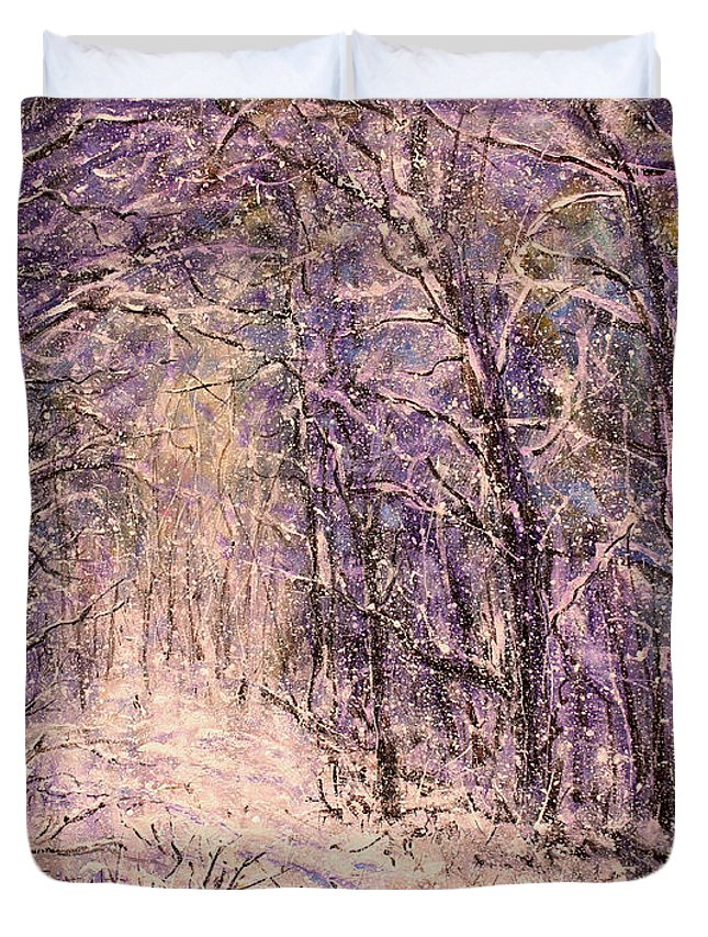 Winter Duvet Cover featuring the painting Winter Magic by Natalie Holland