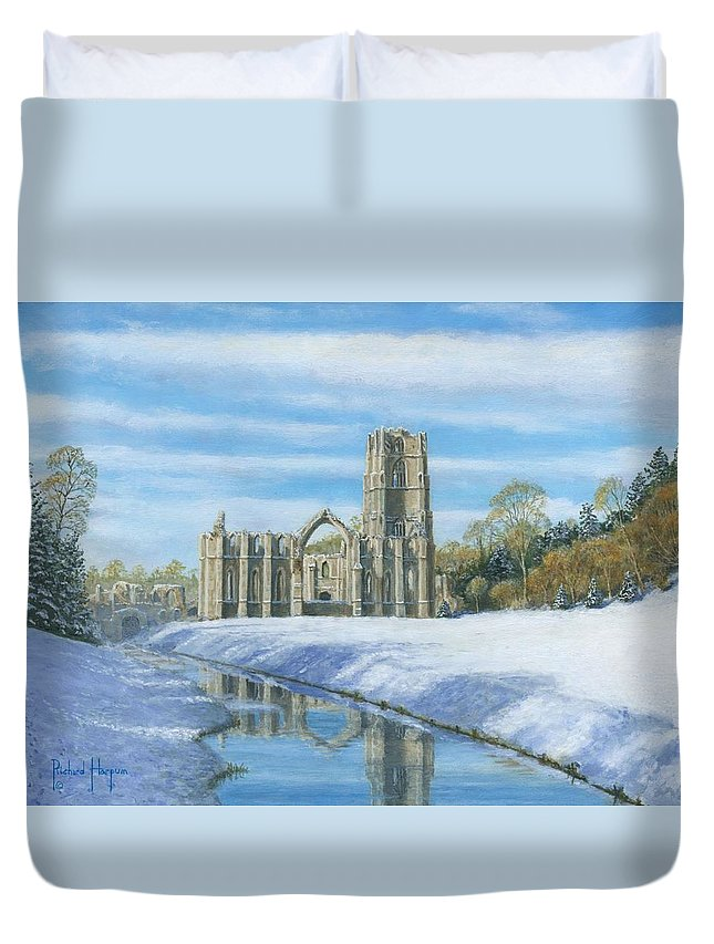 Landscape Duvet Cover featuring the painting Winter Morning Fountains Abbey Yorkshire by Richard Harpum