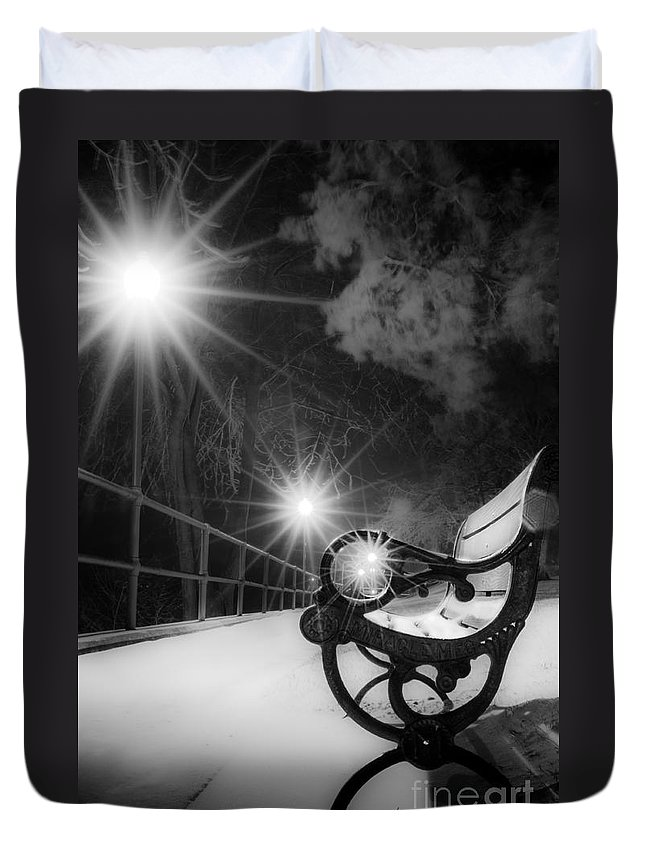 Winter Night Along The River Duvet Cover featuring the photograph Winter Night Along The River by Michael Arend