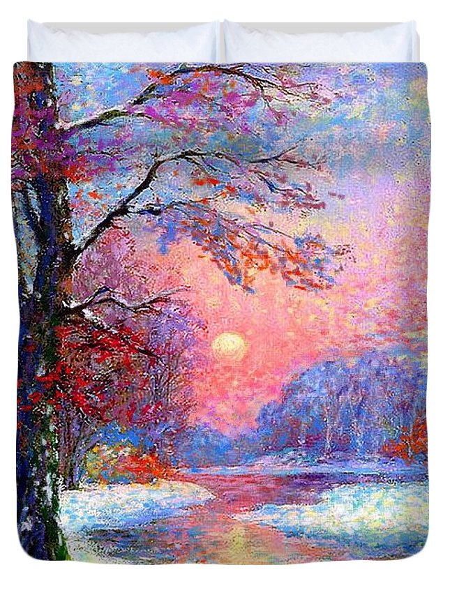 Sun Duvet Cover featuring the painting Winter Nightfall, Snow Scene by Jane Small