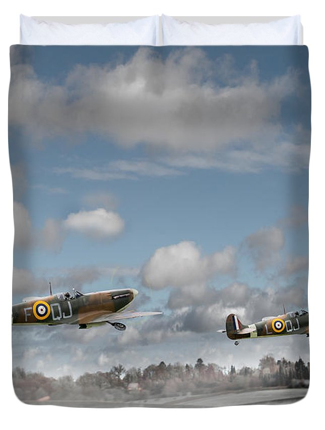 Spitfires In Winter Duvet Cover featuring the photograph Winter Ops Spitfires by Gary Eason