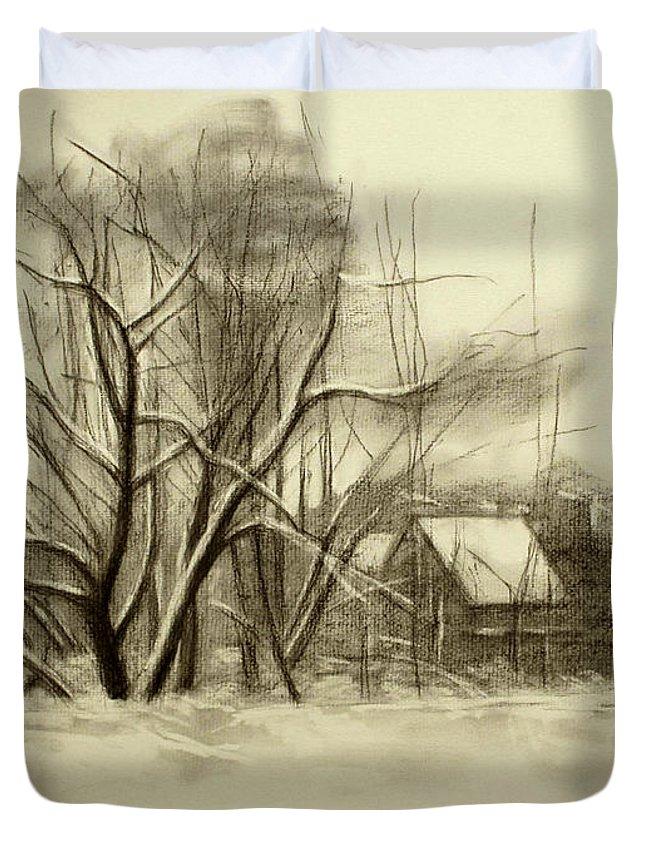 Landscape Duvet Cover featuring the drawing Winter by Raimonda Jatkeviciute-Kasparaviciene