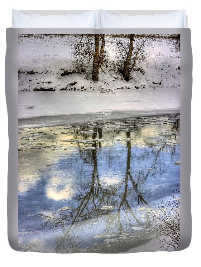 Winter Duvet Cover featuring the photograph Winter Reflections by John Greaves