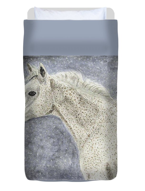 Watercolors Duvet Cover featuring the painting Winter Rider by Angela Davies